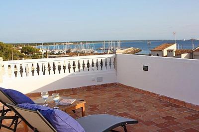 5 Gehminuten zum Es Trenc Strand Mallorquinisches Ferien Haus mit viel Terrassen und Dachterrasse mit Traumblick ber das Meer Hafen & Strand in Sa R